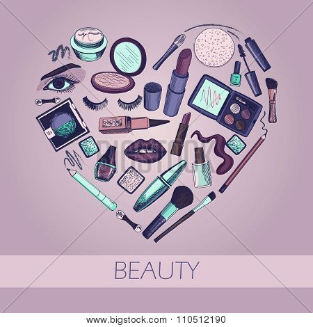 Flat illustration of cosmetic elements.