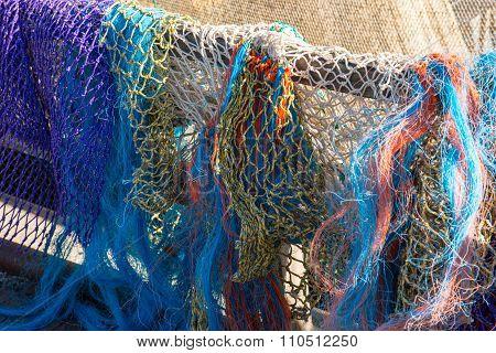 Colored Fishing Nets In A Dutch Fishing Port.