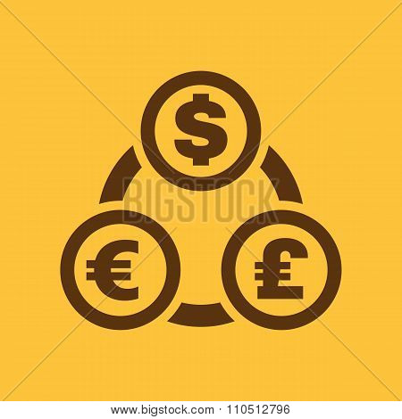 The currency exchange dollar, euro, pound sterling icon. Cash and money, wealth, payment symbol. Fla