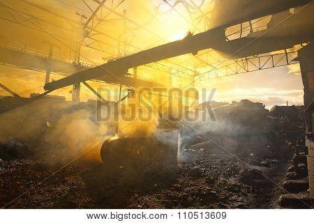 Scrap metal and smoke