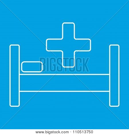 Hospital bed and cross thin line icon