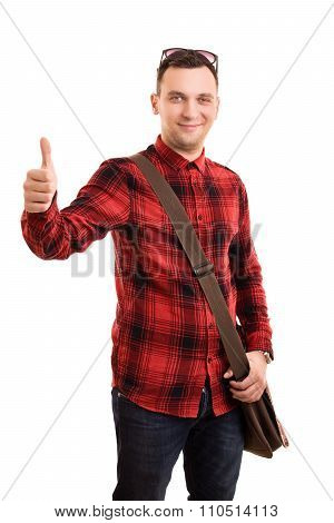 Young Student Making A Thumbs Up