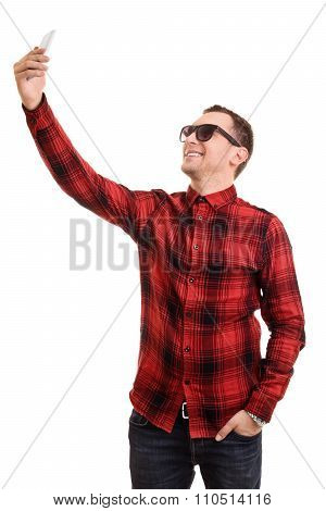 Fashionable Young Man Taking A Selfie