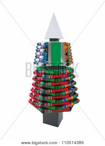 Abstract Creative Christmas Tree Made From Pyrotechnics Isolated Over White Background
