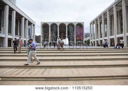 New York City, 12 September 2015: People Walk On Steps Near Metropolitan Opera At Lincoln Centre In