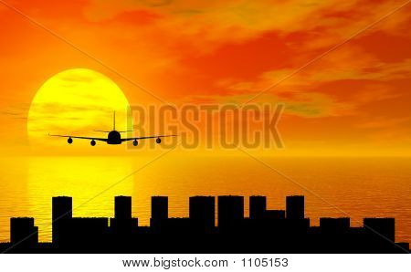 Sunset With Airplane And City Silhouette