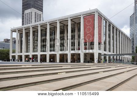 New York City, 12 September 2015: People Walk Near Lincoln Centre In New York City