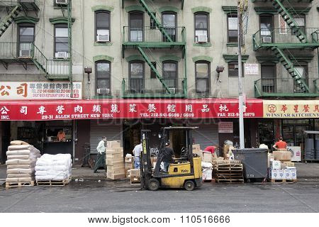 People And Signs On Allen Street In Chinatown Manhattan New York City