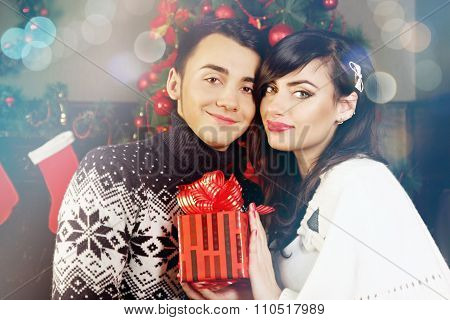 couple with a gift, tinted