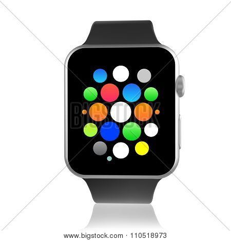 Black Generic Smart Watch With Icons