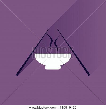 Flat with shadow Icon miso soup sticks