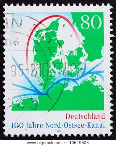Postage Stamp Germany 1995 Map Of Kiel Canal