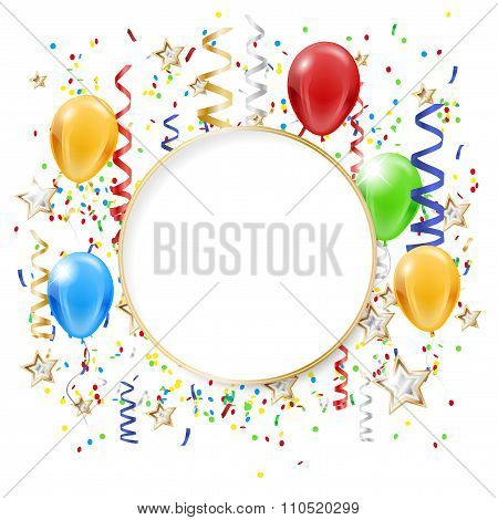 Abstract Party Background With Confetti, Balloons And Copy Space