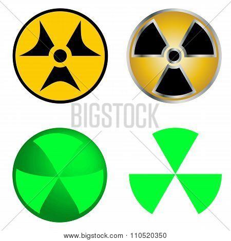 Isolated Symbols of Radiation Vector Illustration.