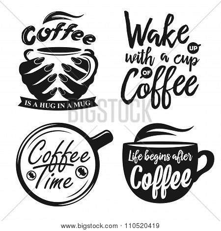 Hand drawn typography coffee posters set.