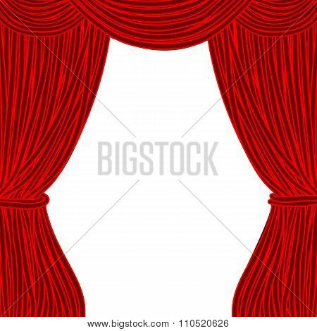 Red Square Theater Curtain Isolated On White Background