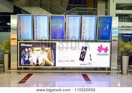 DUBAI, UAE - SEPTEMBER 08, 2015: interior of Dubai Airport. Dubai International Airport is the world's busiest airport by international passenger traffic.