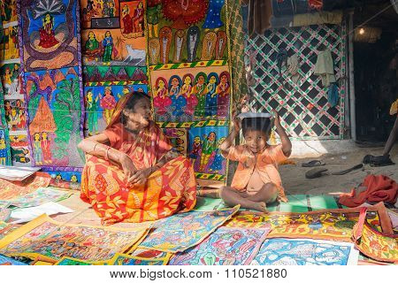Handmade Artworks, Handicrafts Being Sold At Pingla, West Bengal, India