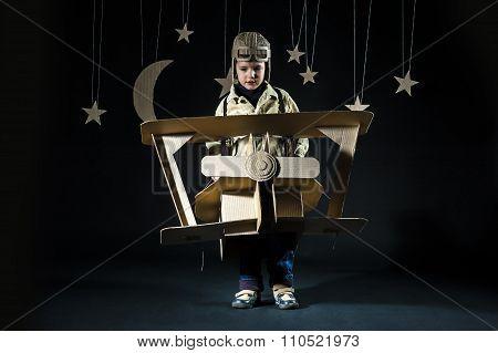 Toy Airplane At Night