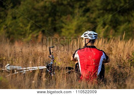 Portrait of Young Cyclist in Helmet. Sport Lifestyle Concept.