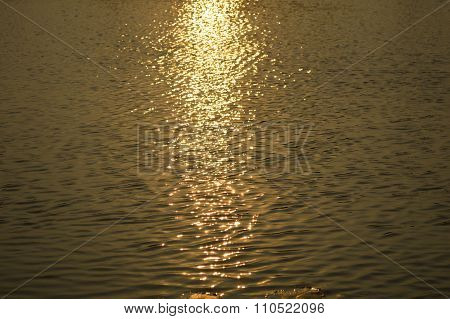 water surface in sunset