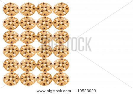 Macadamia and Chocolate Chip Cookies isolated on white background