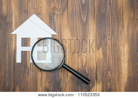 Paper House With Magnifying Glass, House Hunting