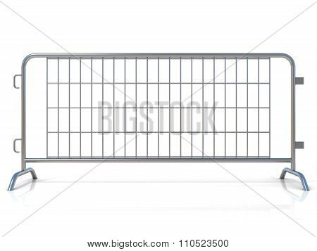 Steel barricades isolated. Front view