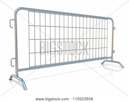 Steel barricades isolated. Side view