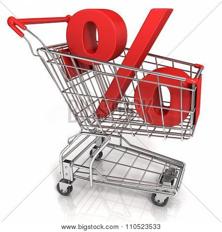 Red shopping cart with percent sign isolated