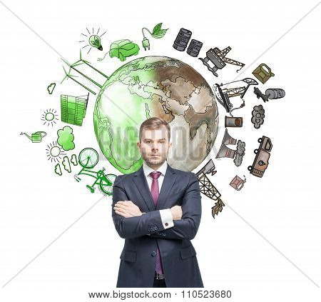 Man Thinking About Environment, Oil Production And Ecoenergy Icons Behind