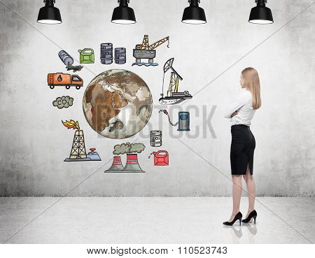 Woman Thinking About Environment, Oil Production Icons Behind Her