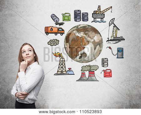 Woman standing in front of the wall thinking about oil production