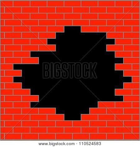 Hole in brick wall orange