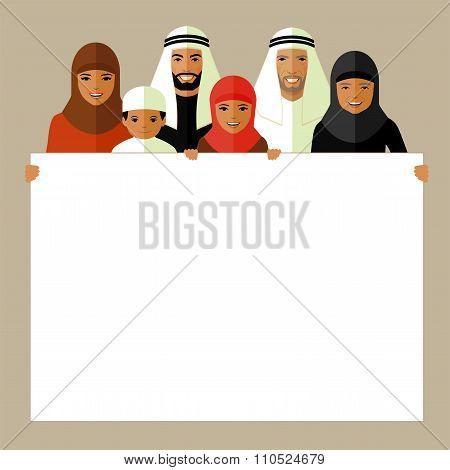 arab family, muslim people