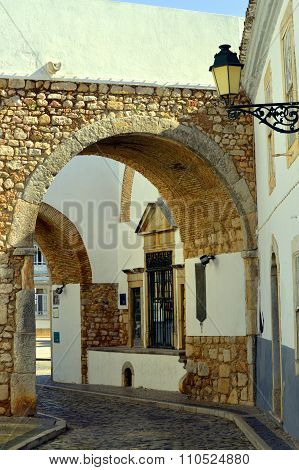 Exit arch through the surrounding wall out of Faro old town