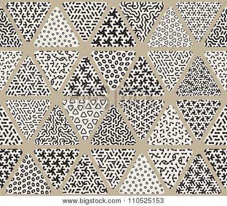 Vector Seamless Black And White  Triangle Patchwork Tiling Filled With Jumble Patterns