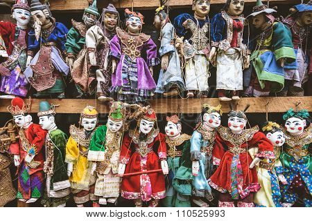 Vintage Style Of Handicraft Colourful Puppet, Myanmar Traditional Dolls