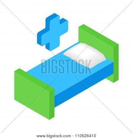 Hospital bed and cross isometric 3d icon