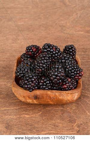 closeup blackberries in bowl
