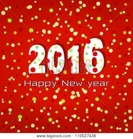 2016 Happy New Year. Greeting Card.