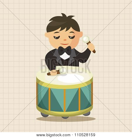Character Drummer Musician Theme Elements