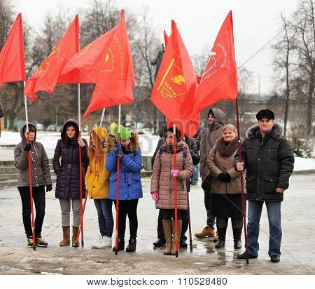 Orel, Russia - December 05, 2015: Truck Drivers Picket. Girls And Parents With Red Communist Flags