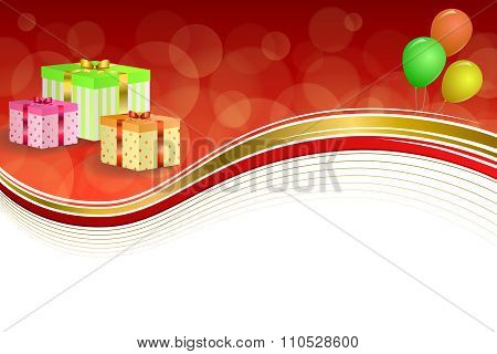 Background abstract birthday party gift box green red yellow balloons gold ribbon frame illustration