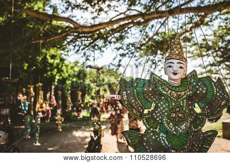 Vintage Style Of Handicraft Puppet, Myanmar Traditional Dolls