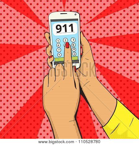 Female emergency call pop art vector