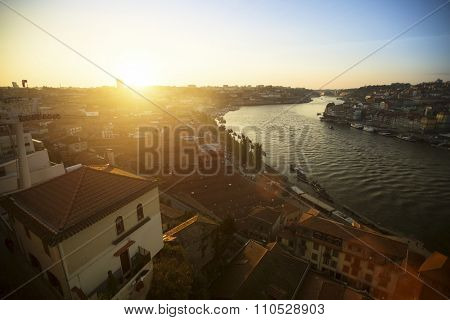 PORTO, PORTUGAL - CIRCA JUN, 2015: Top View of Douro river and Ribeira in historic center of Porto. UNESCO recognised Old Town of Porto as a World Heritage Site in 1996.