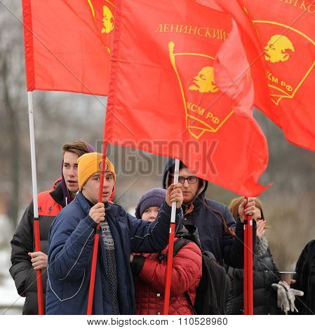 Orel, Russia - December 05, 2015: Truck Drivers Picket. Young Men With Red Communist Flags