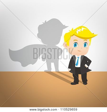 Cartoon Illustration Businessman Act Superman