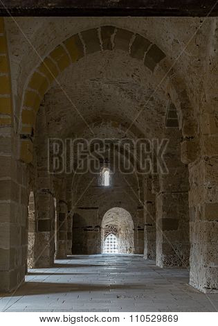 ALEXANDRIA, EGYPT - December 3: A passage at the Citadel of Qaitbay (the Fort of Qaitbay)